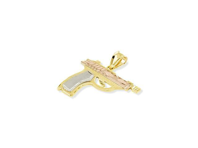 14k White Rose Yellow Gold Pistol Hand Gun Pendant