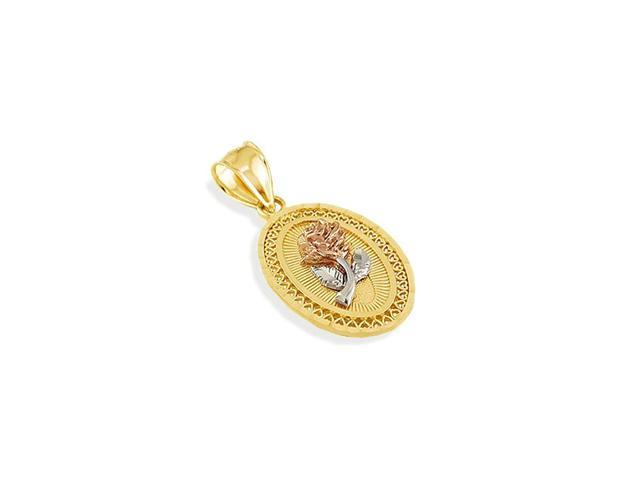 14k Yellow White Rose Gold Flower Hearts Oval Pendant