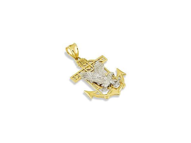 14k White Solid Gold Flying Eagle Anchor Hearts Pendant