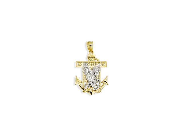14k Two Tone Gold Eagle Heart Anchor Charm Pendant