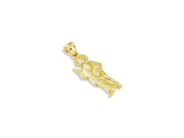 14k Yellow Gold Thaddeus Saint Jude Religious Pendant