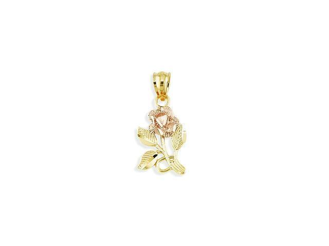 Solid 14k Yellow Rose Gold Detailed Flower Pendant