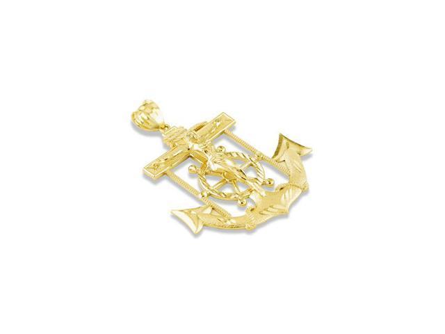 14k Yellow Gold Captains Wheel Crucifix Anchor Pendant