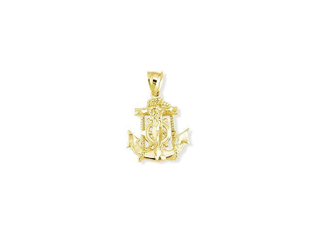 Mens 14k Yellow Gold Crucifix Anchor Ship Wheel Pendant