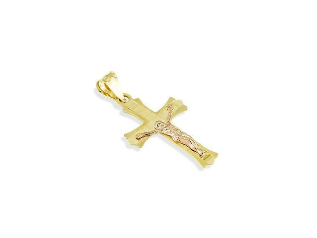 14k Rose Yellow Gold Jesus Crucifix Cross Charm Pendant