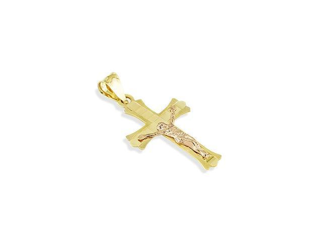 14k Rose Yellow Gold Jesus Crucifix Cross Charm Pendant