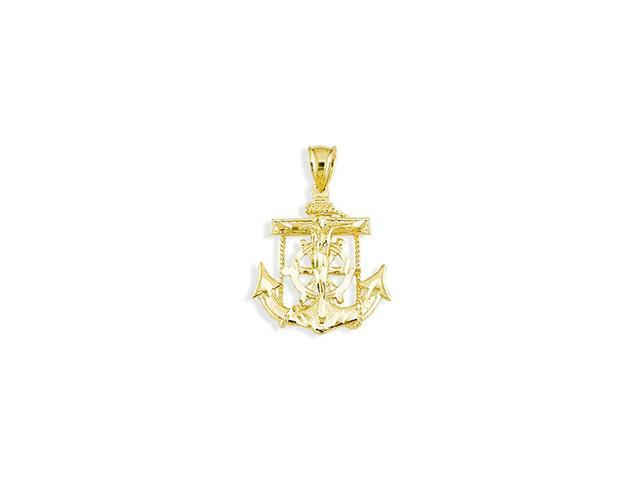 14k Yellow Gold Anchor Crucifix Captains Wheel Pendant
