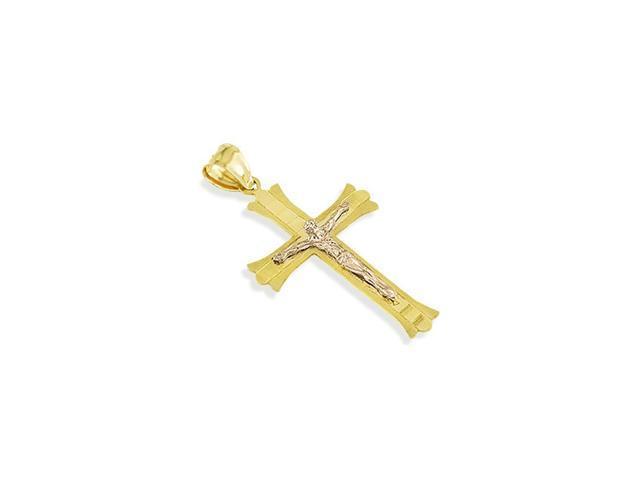 14k Yellow Rose Gold Jesus Crucifix Roman Cross Pendant