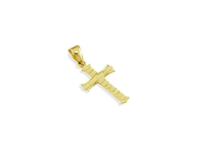 Solid 14k Yellow Gold Diamond Cut Roman Cross Pendant
