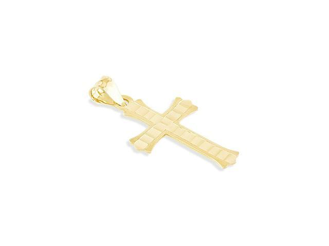 14k Yellow Gold Diamond Cut Religious Cross Pendant