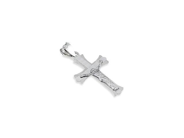 Solid 14k White Gold Crucifix Charm Roman Cross Pendant