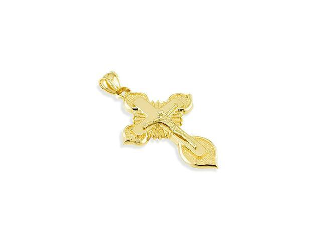14k Yellow Gold Cross Jesus Crucifix Religious Pendant