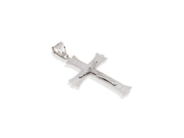14k White Gold Christ Crucifix Roman Cross Pendant