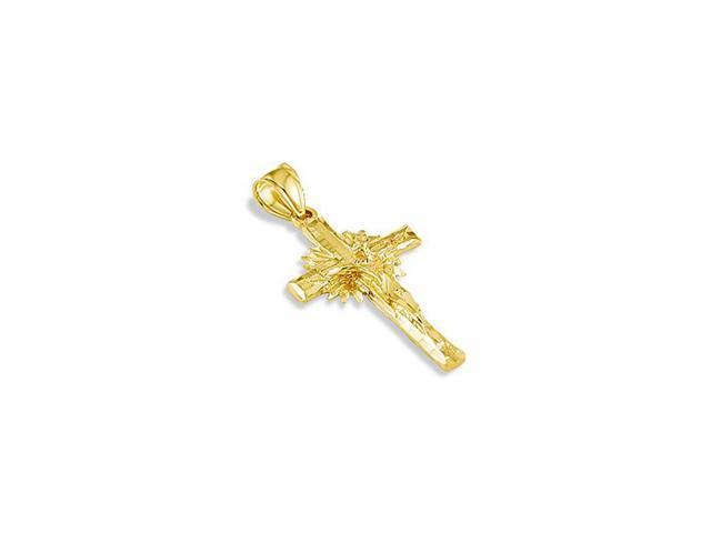 14k Yellow Gold Diamond Cut Crucifix Cross Pendant