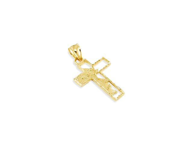 14k Solid Gold Jesus Open Cross Modern Crucifix Pendant