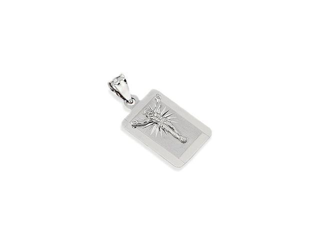 14k White Gold Jesus Christ Cross Rectangular Pendant