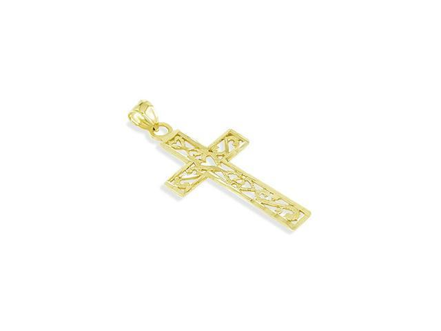 14k Yellow Gold Hearts Cross Religious Fashion Pendant