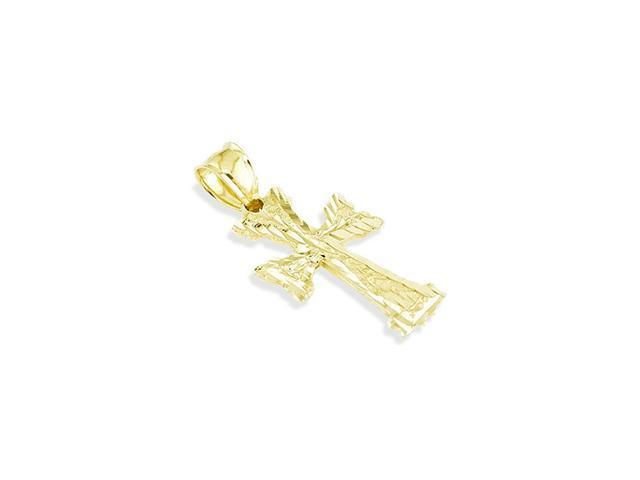 Polished 14k Yellow Gold Diamond Cut Cross Pendant