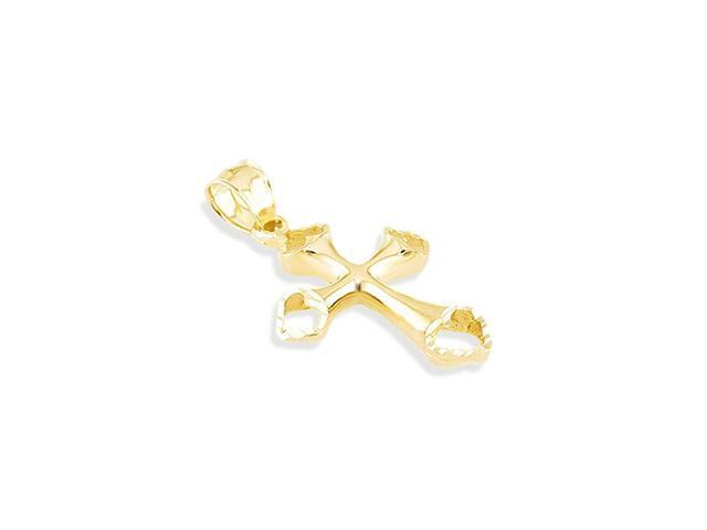 14k Yellow Gold Heart Love Art Cross Religious Pendant