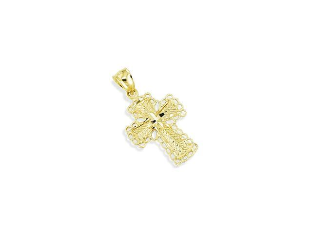 Solid 14k Yellow Gold Diamond Cut Sacred Cross Pendant