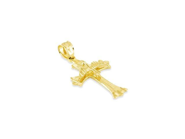14k Yellow Gold Diamond Cut Dove Peace Cross Pendant