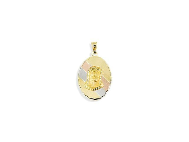 14k White Yellow Rose Gold Jesus Face Oval Pendant