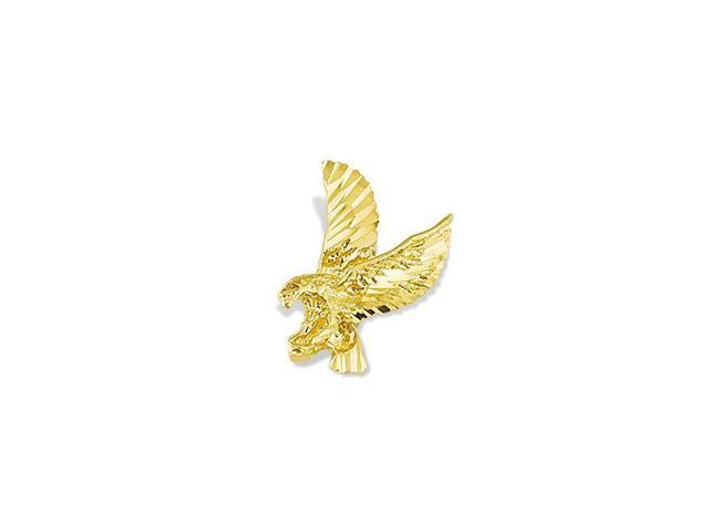 Mens 14k Yellow Gold Flying Bald Eagle Bird Pendant