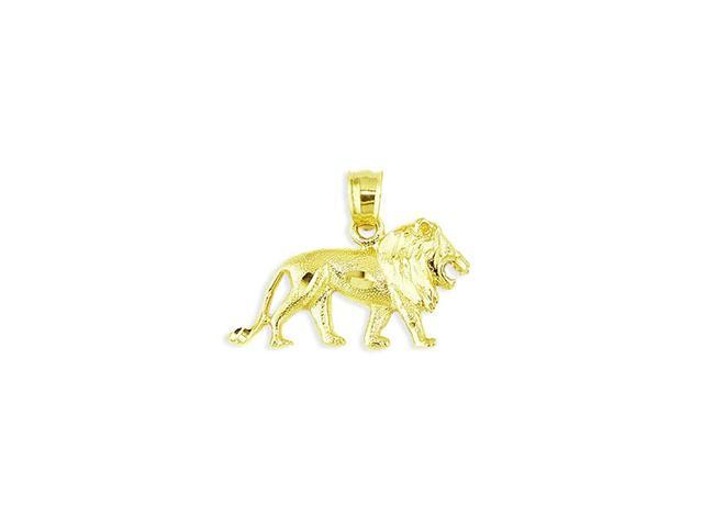 Mens Solid 14k Yellow Gold Polished Leo Lion Pendant