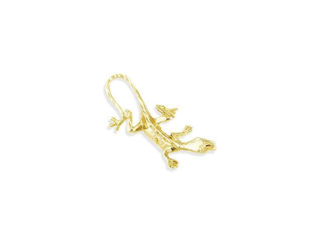 Mens Solid 14k Yellow Gold Diamond Cut Lizard Pendant
