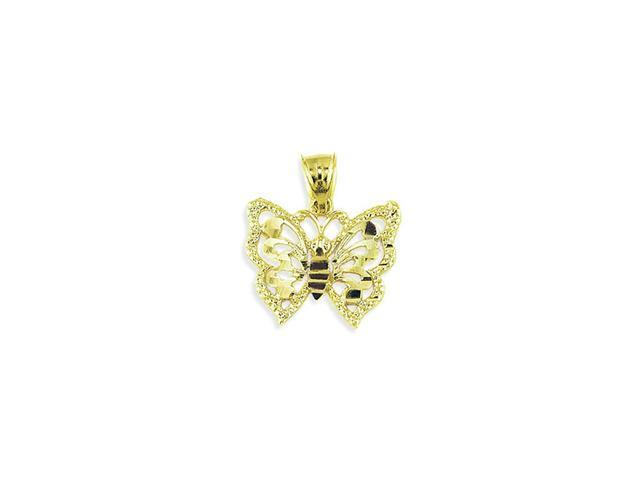 14k Solid Yellow Gold Butterfly Diamond Cut Pendant