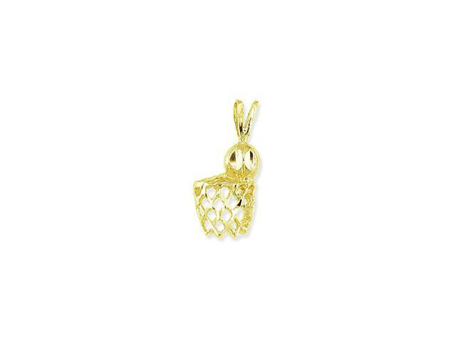 14k Yellow Gold Basketball Hoop Net Sports Pendant