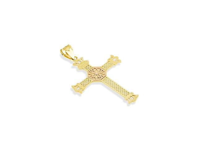 14k Yellow Rose Gold INRI Roman Cross Religious Pendant