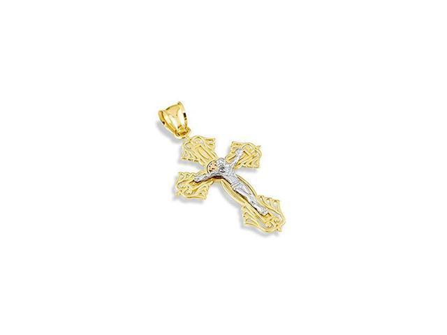 14k White Rose Yellow Gold Jesus Crucifix Charm Pendant