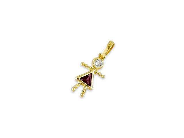 Childrens 14k Yellow Gold Girl White Red CZ Pendant