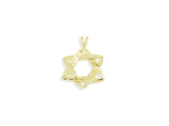 14k Yellow Gold Star Of David Jewish Religious Pendant