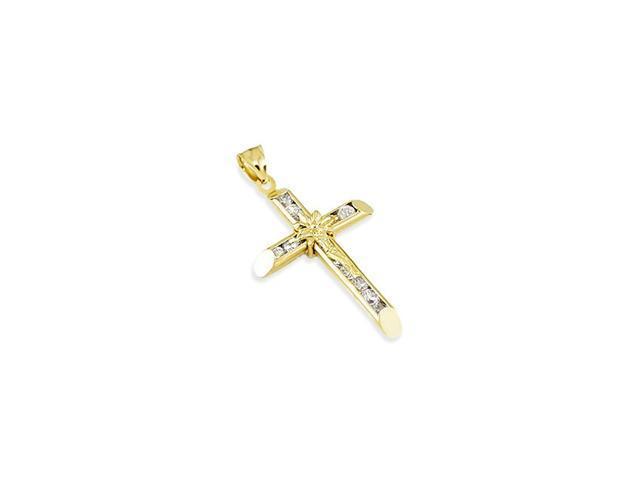14k Yellow Gold Channel Set Round CZ Crucifix Pendant
