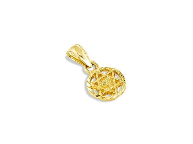 14k Yellow Gold Star Of David Menorah Jewish Pendant