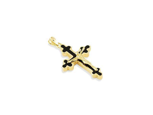 14k Yellow Gold Black Enamel Jesus Christ Cross Pendant