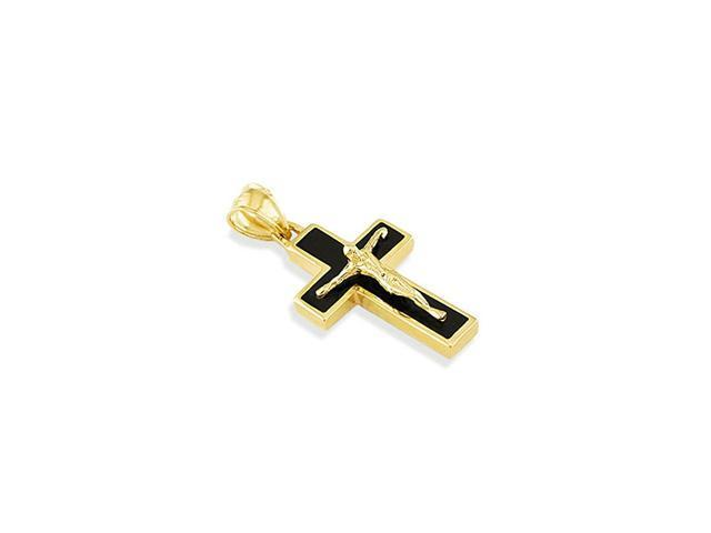14k Yellow Gold Black Enamel Cross Crucifix Pendant