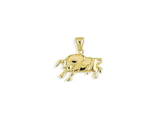 Solid 14k Yellow Gold Taurus Raging Bull Rodeo Pendant
