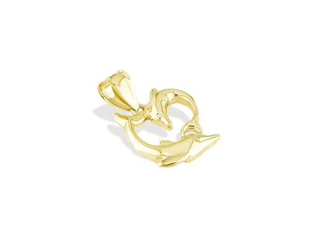 14k Yellow Gold Man Woman Dolphin Heart Love Pendant