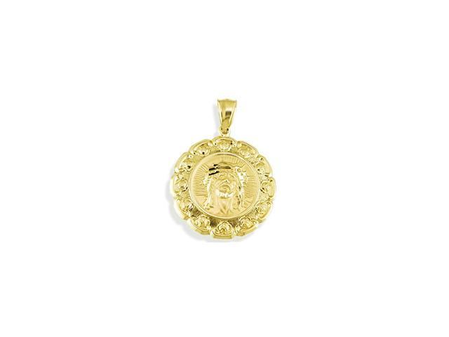 14k Yellow Gold Jesus Mary Floral Reversible Pendant