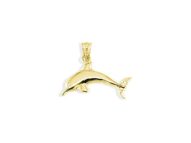 14k Yellow Gold Puffy Dolphin Sea Fish Pendant Charm