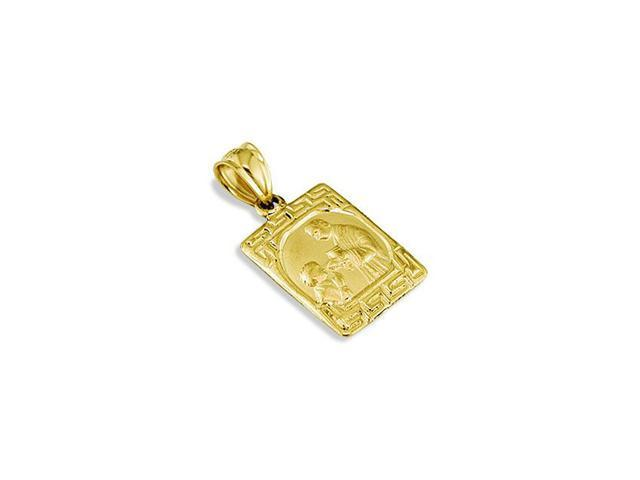 14k Solid Gold Childs First Communion Greek Key Pendant