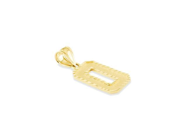 Solid 14k Yellow Gold Letter 0 Number O Initial Pendant