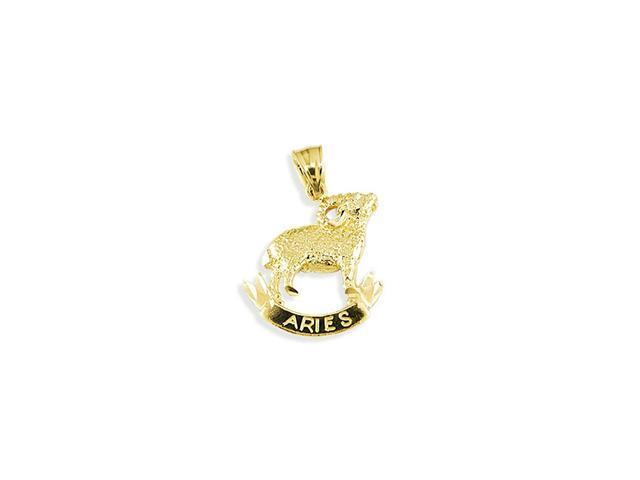 Solid 14k Yellow Gold Aries Zodiac Sign Charm Pendant