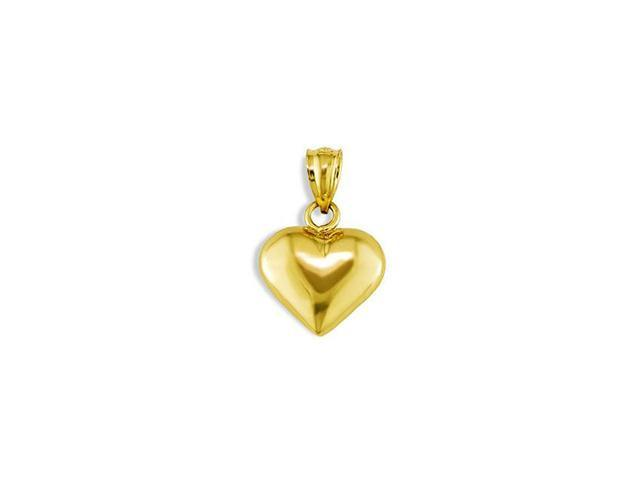 14k Yellow Gold Polished Puffy Heart Love Charm Pendant