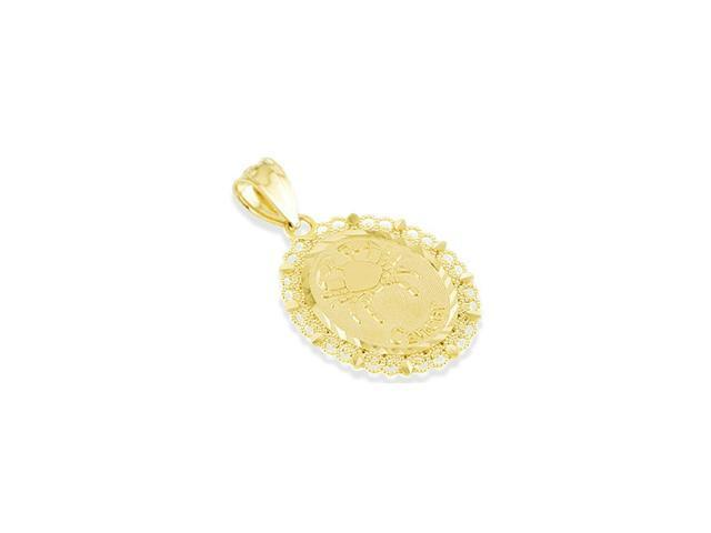 14k Yellow Zodiac Cancer Crab Oval Astrology Pendant