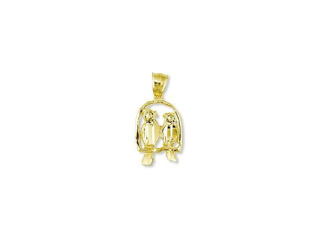 Solid 14k Yellow Gold Two Love Birds Swinging Pendant