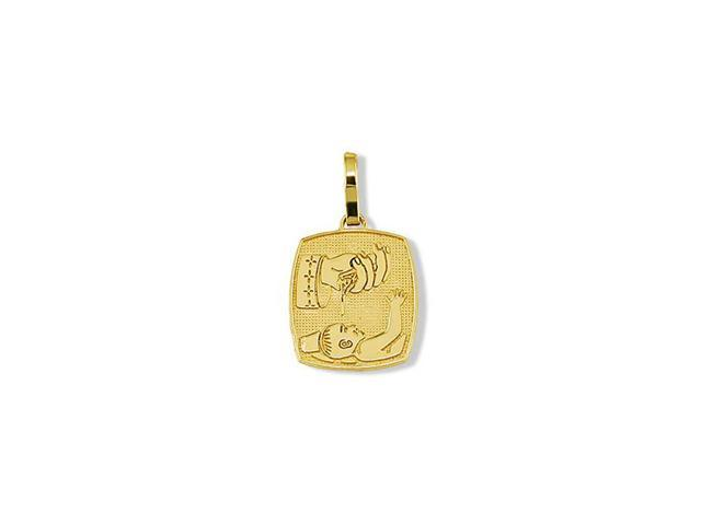Solid 14k Yellow Gold Baby Baptism Religious Pendant